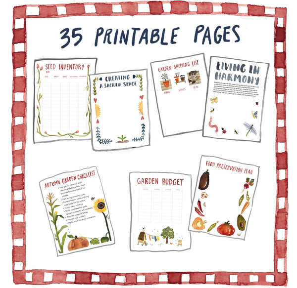 illustration of what pages in printable garden journal by little truths studio