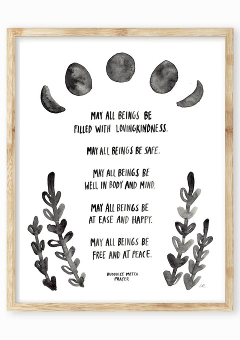 Buddhist Metta Prayer Art Print Art Prints Little Truths Studio