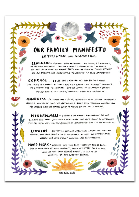 Family Manifesto Art Print Art Prints Little Truths Studio