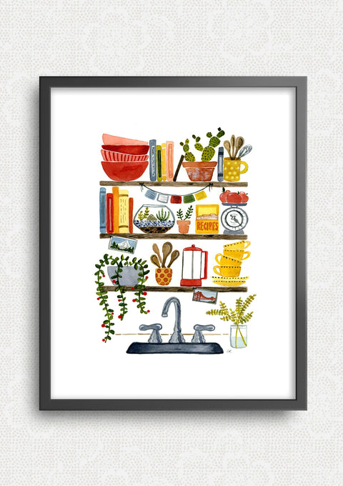 Kitchen Sink Shelves Art Print Art Prints Little Truths Studio