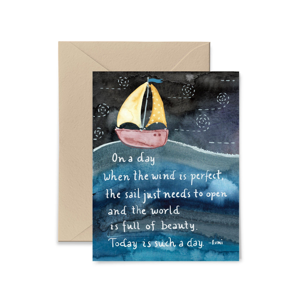 On A Day When The Wind Is Perfect Greeting Card Greeting Card Little Truths Studio