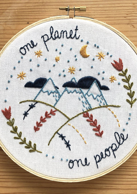 One Planet, One People Embroidery Kit embroidery kit Little Truths Studio