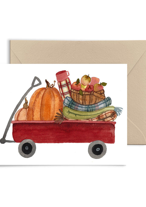 Pumpkin Wagon Card Greeting Card Little Truths Studio
