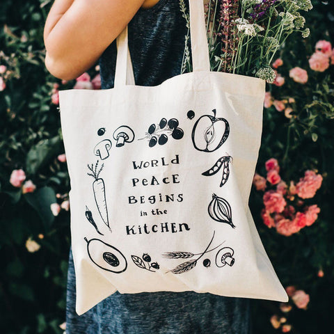 World Peace Begins In The Kitchen Tote Bag Tote Bag Little Truths Studio