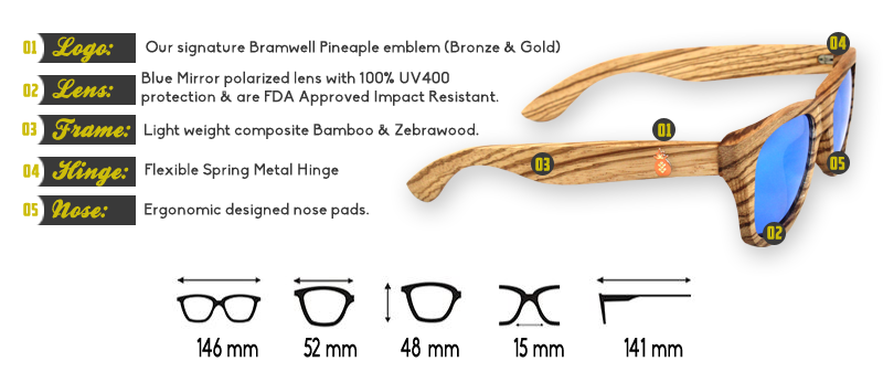 Moonlight Zebra Bamboo Sunglasses Specs