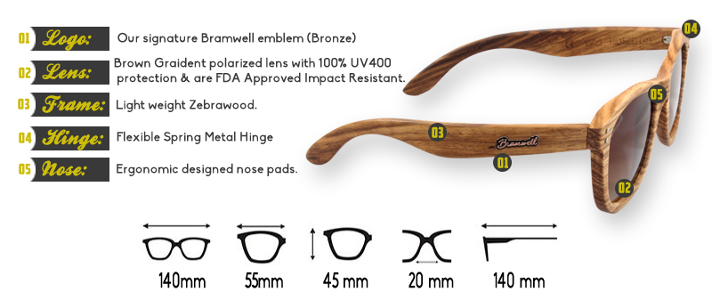 Pipes Zebrawood Brown Gradient Sunglasses Specs
