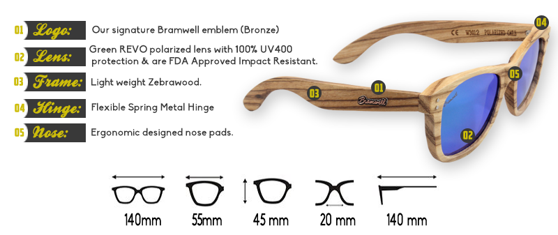 Pipes REVO Zebrawood Sunglasses Specs