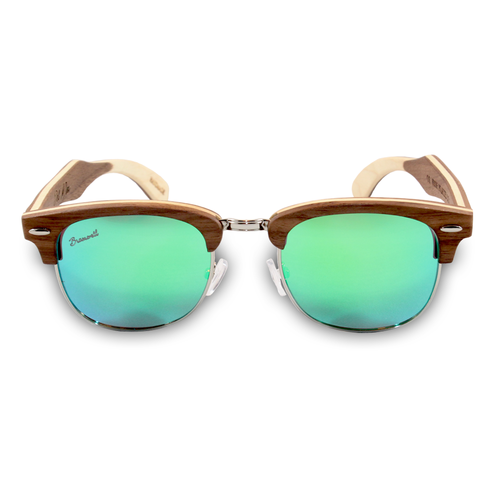 Del Mar Walnut Clubmaster Sunglasses Front
