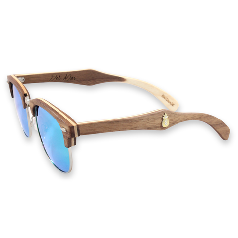 Del Mar Walnut Clubmaster Sunglasses Left