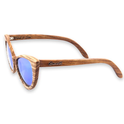 Wind & Sea REVO Zebrawood Cat Eye Sunglasses Left