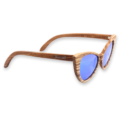Wind & Sea REVO Zebrawood Cat Eye Sunglasses Right