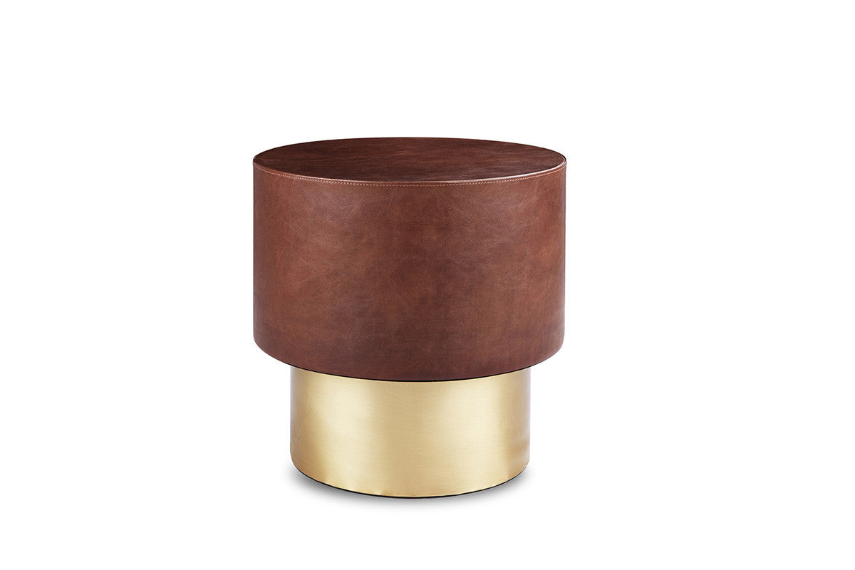 Leather Drum Side Table Round UNITED STRANGERS - Brass drum side table