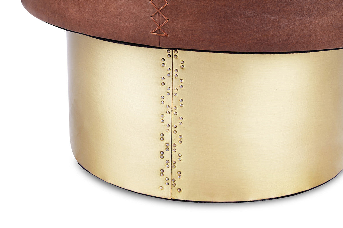 Leather Drum Side Table