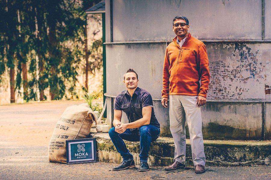 Co-founders Jeff and Ishan pictured next to the Moka Origins Headquarters in Honesdale, Pennsylvania