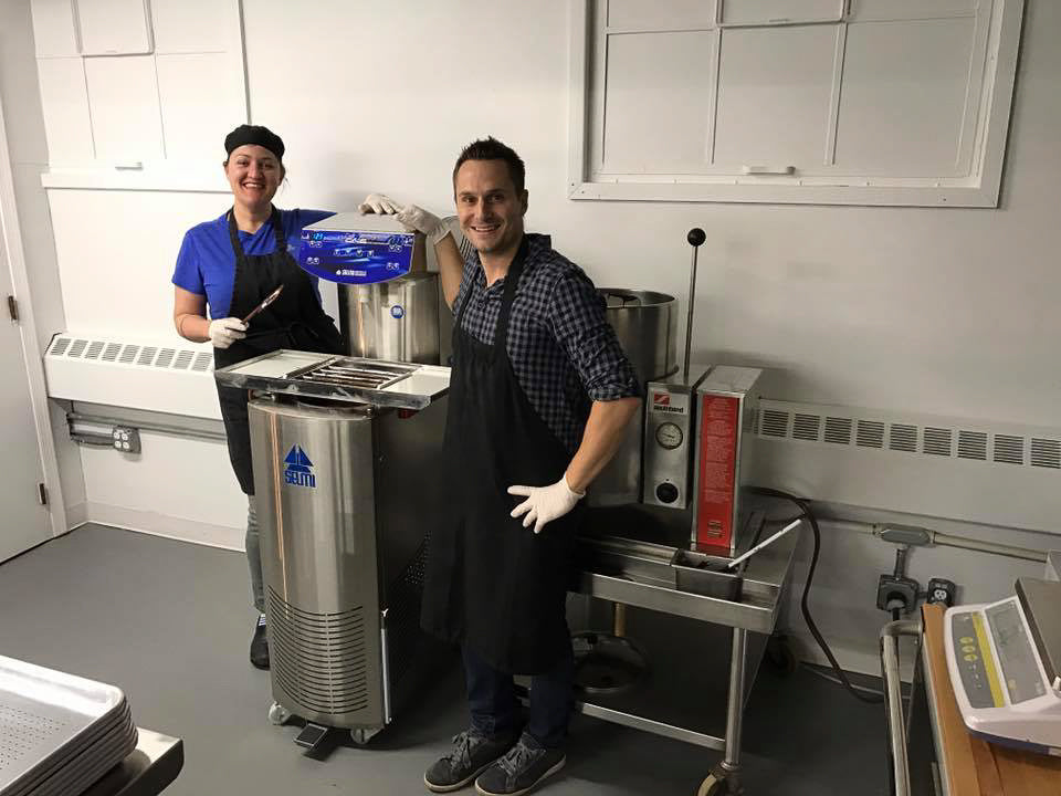 Jeff and Sara pictured along side the first Moka Origins tempering machine