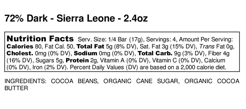 Sierra Leone 72% Dark Chocolate