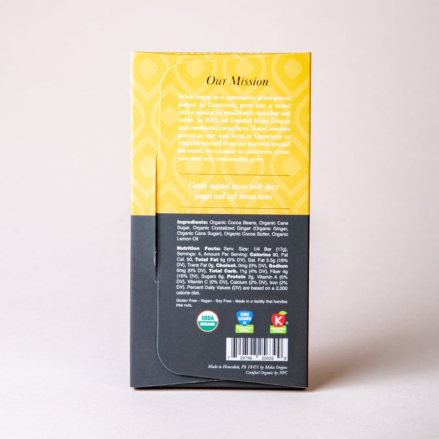 Lemon Ginger Chocolate Chocolate Bars Moka Origins