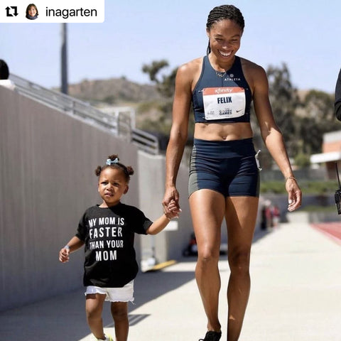 My Mom is Faster Than you mom Allyson Felix and Cammy - Posted by the Barefoot Contessa