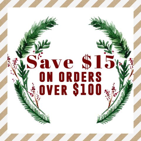 Save $15 on orders over $100