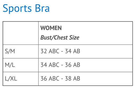 sports bra sizing
