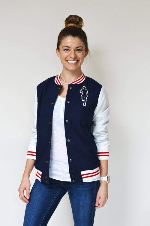 Sarah Marie Design Studio Jacket Small / Navy/Red/White Varsity Jacket - Navy
