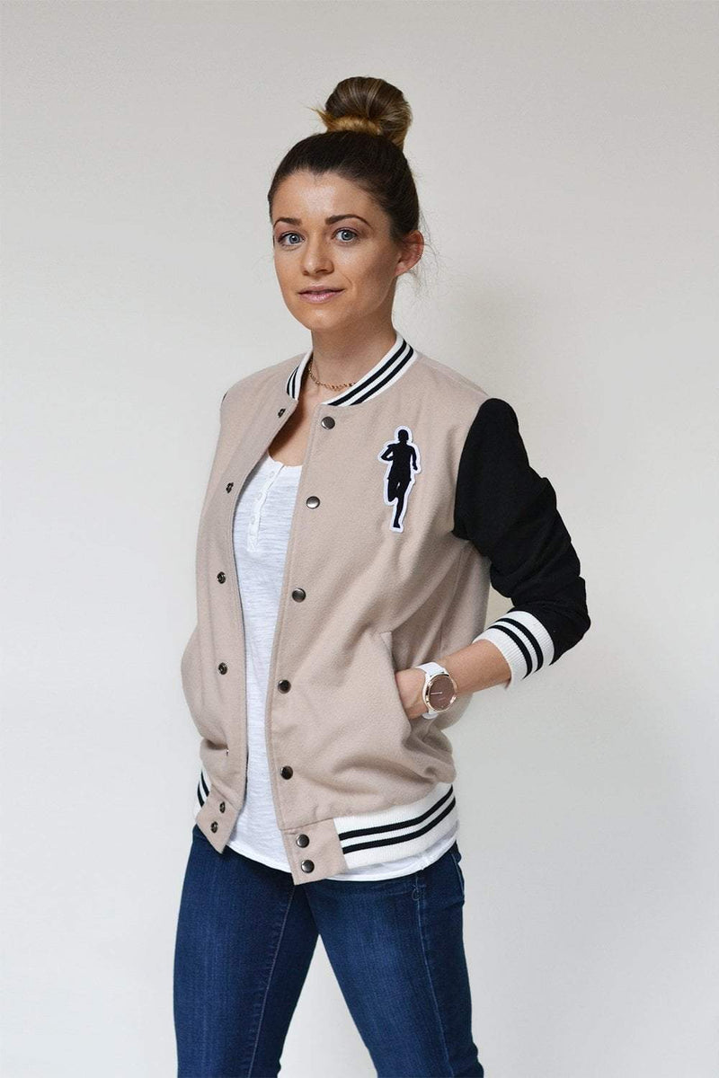 Sarah Marie Design Studio Jacket Small / Tan/Black Varsity Jacket - Tan/Black