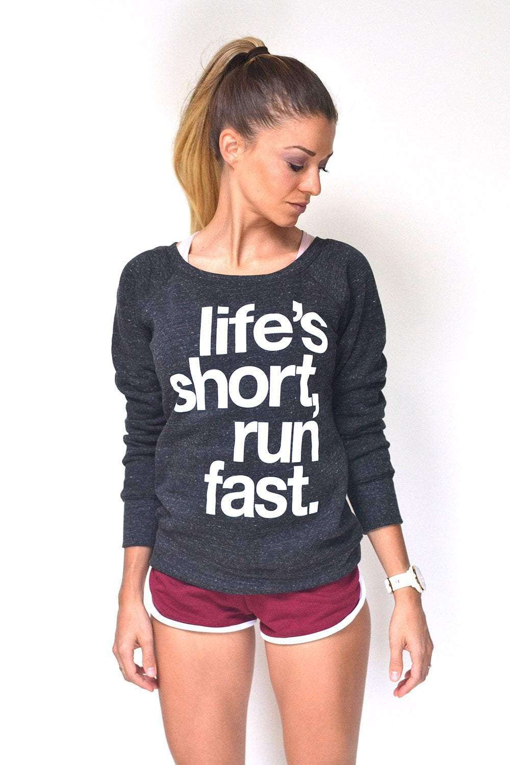 Life's Short, Run Fast. - Women's Sweatshirt - Sarah Marie Design Studio