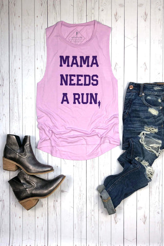 Mama Needs A Run Tie-Dye Tank