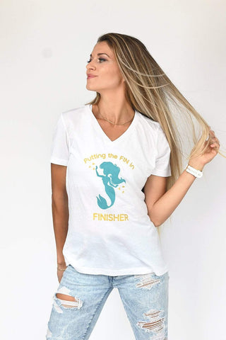 FIN in FINISHER Little Mermaid inspired White Muscle Tank