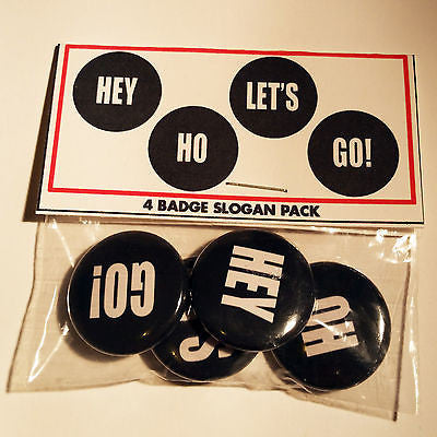 RAMONES | 4 1-inch Pinback Set |  | Hey Ho Let's Go! Slogan gift set