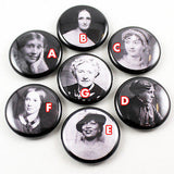 Classic Author Series 2 | Woolf | Shelley | Austen | Alcott | Hurston | Bronte | Christie | 1 Inch Pinback Buttons