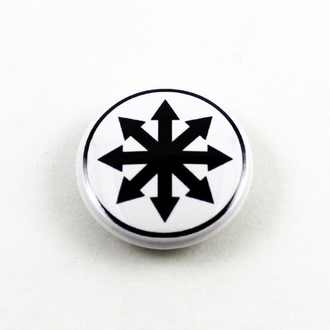 Chaos Star | Pinback Button | 3 Sizes to Choose From - Black On White