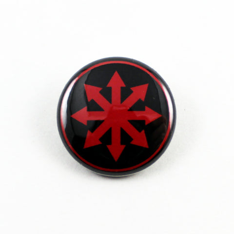 Chaos Star | Pinback Button | 3 Sizes to Choose From - Red On Black
