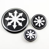Chaos Star | Pinback Button | 3 Sizes to Choose From - White On Black
