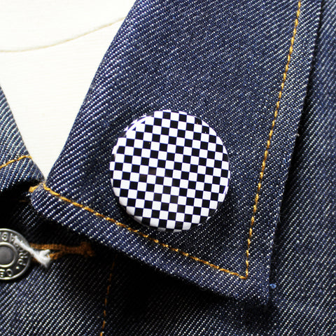 Checkerboard | Twin-Tone inspired | 1 1/4 Inch Pinback Button