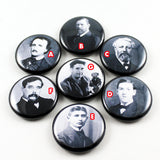 Classic Author Series 1 | Poe | Stoker | Verne | Lovecraft | Kafka | Wells | Orwell | 1 Inch Pinback Buttons