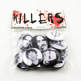 Deadly Dozen Killer Collector's Pack | Twelve - 1 Inch Pinbacks | Serial Killers