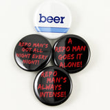 Repo Man Quotes and Beer Logo | Pinback Button 4 Styles to Choose from