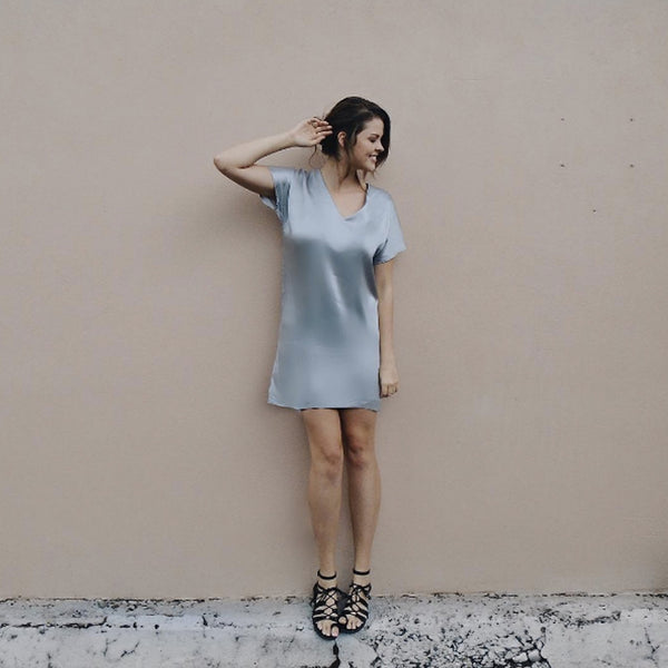Short V-Neck Silk Dress.