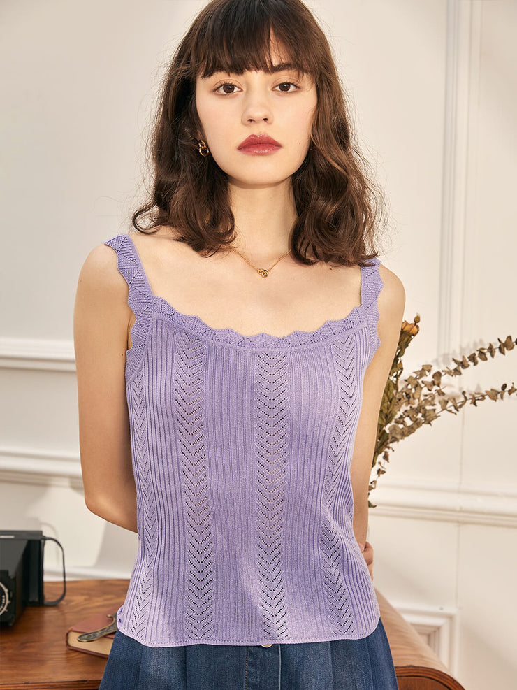 Gail  Knitted Vest-Purple