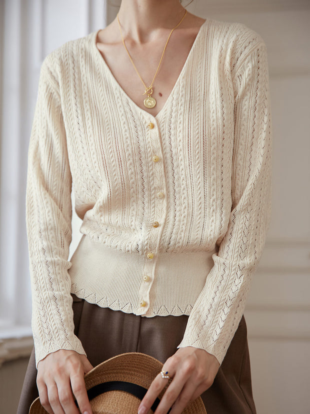 Anna Knitting Cardigan - Oatmeal