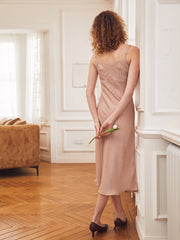 Miranda Satin Slip Dress-Dusty Pink
