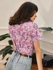 Monet V-neck Printed Blouse-Purple