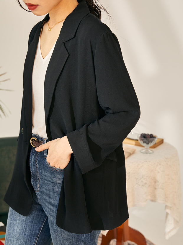 Randy Casual Chiffon Blazer-Black