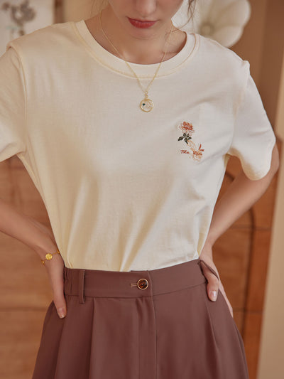 Cindy 100% Cotton Embroidery Tee/Simple Retro/55031