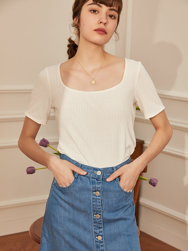 Alison U-neck T-shirt-White
