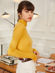 Gina 100% Wool Bottoming Top- Yellow