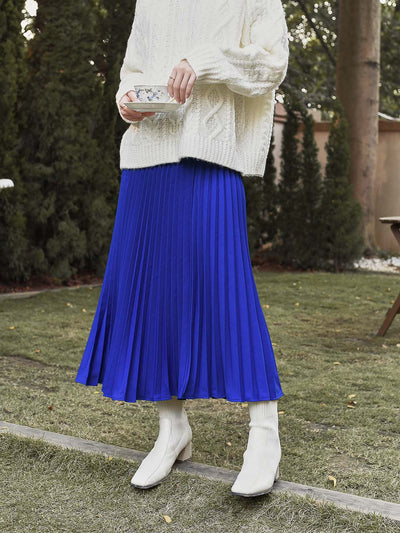 Monique Pleated Skirt/simple retro/11177
