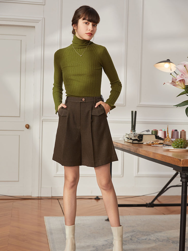 Vicky 100% Wool Turtleneck Sweater-Mustard Green