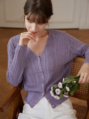 Emma Knitting Cardigan-Light Purple
